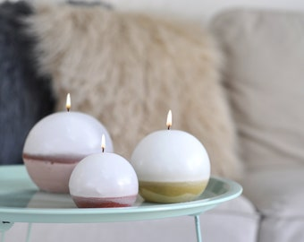 Concrete candle / Sphere trio / housewarming / romantic / candles / concrete decor / white wax / scented candles