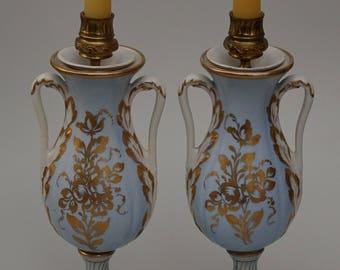 Pair Blue Gold Porcelain Cassolette Candleholders