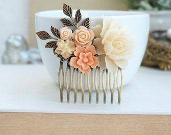Peach Flower Comb, Ivory Flower Comb, Flower Comb, Peach Ivory Comb, Antiqued Plated Comb, Peach Wedding, Brass Flower Comb, Bridesmaid Gift