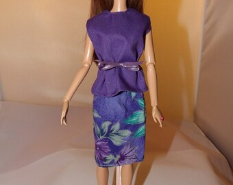 Purple top & purple floral print skirt set for Fashion Dolls - ed769