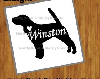 Beagle Decal, Beagle Car Decal, Beagle Laptop Decal, I love my Beagle Decal - You choose size and color.