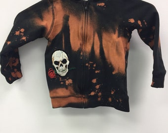 Baby Distressed Zip up Hoodie, W Skull Patches