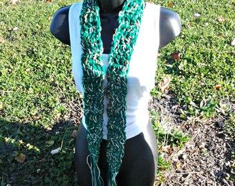 Sale Crochet scarf - Green scarf - Green blend scarf - female scarf - Scarves - Long Scarf - Skinny scarf - Crochet belt -Green