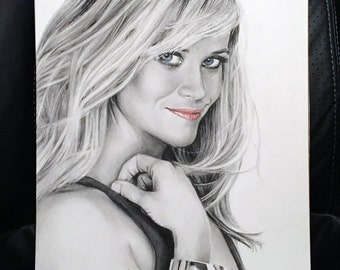 Original Drawing of Reese Witherspoon 9x12 (NOT a print)