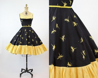 50s Novelty Print Dragonfly Dress XS / 1950s Vintage Dress / Dragonfly Nights Frock