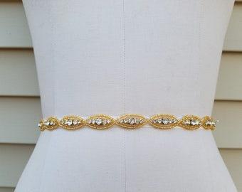 Bridal Belt, Wedding belt, Bridesmaid Belt, Party Belt, - Crystal Rhinestone Belt with Gold Accents - Style B1021G