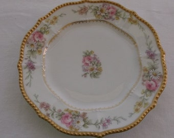 Vintage Hand Painted Plate, Gold Beaded Edge with Floral, Elite France P&B Limoges