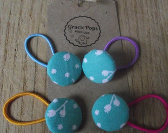 Set of four Girls/baby turquoise fabric button ponytail hair band/tie/elastic