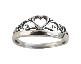 Sterling Silver Ring, Silver Heart Crown Ring, Silver Princess Ring, Silver Bridesmaid Ring, Silver Crown Ring, Silver Heart Ring, Band Ring