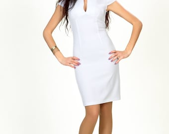 Elegant Pencil Dress,White Pencil Dress Spring ,Elegant Formal Dress ,Classic Pencil Dress Fitted.