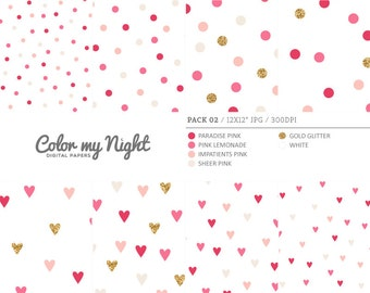 80% OFF SALE Digital Paper Pink 'Pack02' Gold Glitter & Pink Confetti Backgrounds for Scrapbook, Party Invitations, Crafts...