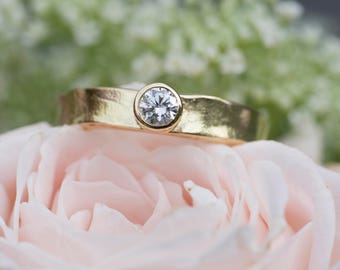 Gold Rustic Diamond Ring | Unique Diamond Engagement Ring | Textured Diamond Ring | Gold Diamond Ring| Simple Gold Diamond Ring  Ally Moore