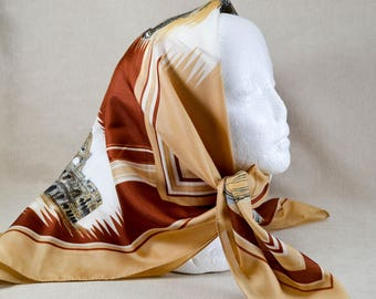 Vintage Italian Scarf with Scenes of Rome Signed by E Saracini, Brown White and Red 494