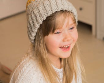 KNITTING PATTERN ombre pom pom hat Sue (toddler, child, woman sizes)