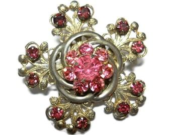 Art Nouveau Brooch Pink Stones Bridal Wedding Jewelry