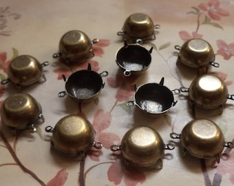 60ss 14mm round brass ox closed back connector settings cb2r 12 pc lot stone size