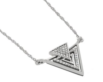 14k solid white gold diamond arrow necklace. triangle jewelry.