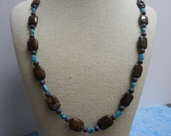 stunning vintage tigers eye, blue coral and turquoise beaded necklace 36 inches