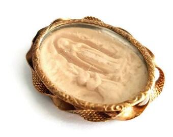 antique religious pendant Lourdes, catholic pendant
