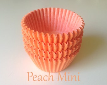 MINI Solid Peach  Cupcake Liners (50)