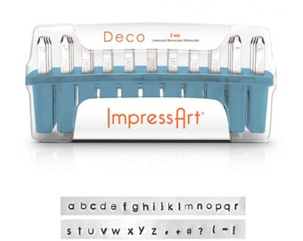 tiny DECO LOWERCASE - minimalist font - steel letter and 6 BONUS stamps  - 1/16 inch (1.5mm) size - how to stamp tutorial