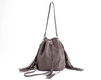 Suede Leather Bucket bag, Drawstring bag, Leather fringe bag, Gray Sac bag, Leather Shoulder bag, Handmade bag, Bucket bag, Sale!