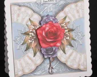 Ref No.32  -  8 x 8 Happy Birthday Card Featuring Red Rose and Lace