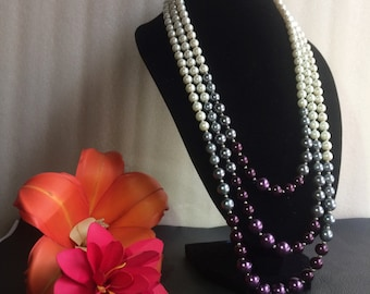 three layering colours combination pearl necklace