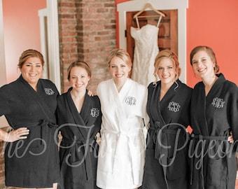 BLACK COTTON ROBES - Cotton Waffle Robes - Cotton Robes for Bridesmaids - Bride Robe - Wedding Robes - Bridesmaid Robes - Bridal Party Robes