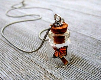 Butterfly in a jar pendant necklace charm with chain Handmade miniature hand drawn Monarch OOAK Renewal Change Strength Hope Faith jewelry
