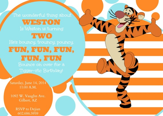 Items similar to printable customizable tigger party invitation items similar to printable customizable tigger party invitation orange and blue birthday party digital file on etsy filmwisefo