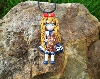 "Necklace ""ROSELINE"" girl and her turtle made of polymer clay."