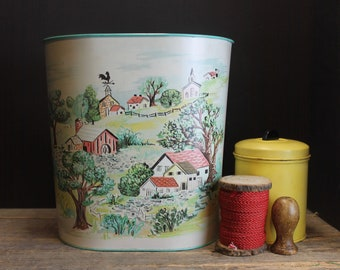 Vintage Cheinco Waste Basket With Farm House // Retro Trash Can // Country