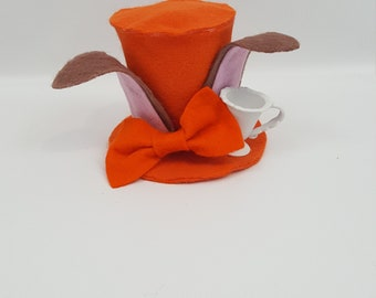 March Hare Tiny Top Hat, March Hare Costume, Halloween Costume, March Hare Cosplay, Alice Party Favor, Alice in Wonderland, Tea Party