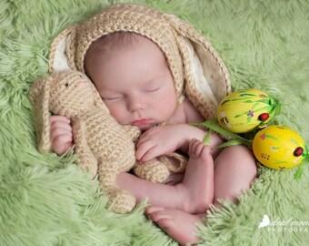 Baby Bunny Newborn Bonnet/ Newborn Bunny Hat and Lovey/Baby Girl Prop/ Baby Boy Prop/ Crochet Bunny Bonnet/