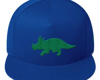 Triceratops Embroidered Flat Bill Cap