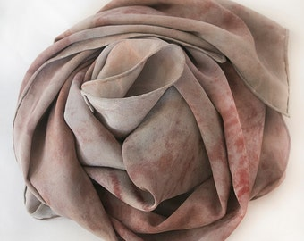 Crepe De Chine Silk Scarf Hand-dyed with Plants, Flowers, Hibiscus and Madder Root