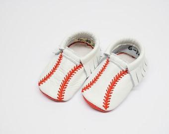 Baseball moccs, baby moccs, baby moccasins, baseball shoes, white and red moccs, baseball.