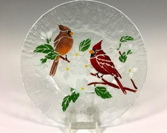 Cardinal Plate, Salad plate, Cardinal Lunch Dish, Dessert Dish, Birds, Cardinals