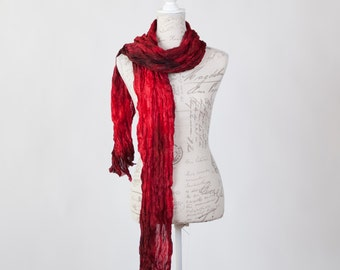 Boho fashion scarf  /  red scarf gift for her / ruffled red silk scarf / brilliant red and hints of black wrinkle silk scarf