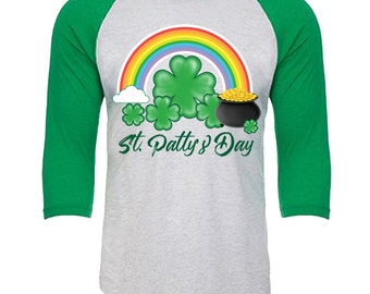 St. Patty's Day - Pot of Gold rainbow shamrock - Unisex Tri-Blend 3/4 Sleeve Raglan Baseball T-Shirt - Sizes XS-3XL in 14 Colors!