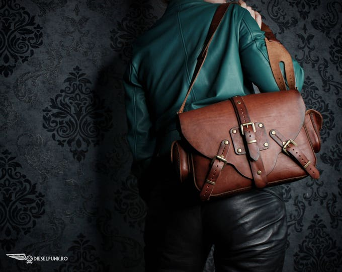 Steampunk Bag - Leather Bag - Hand made Bag - Messenger Bag