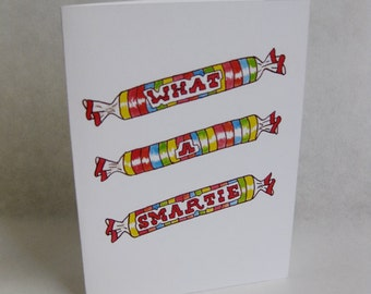 Grad / Graduation Card - Smart / Candy - Handmade and printed from original ink and gouache illustration