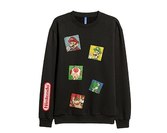 Nintendo Super Mario bros sweatshirt sweater retro - men Sz M-L