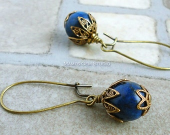 Blue Lapis Lazuli Earrings in Antiqued Brass, Kidney Earwires, Handcrafted Gemstone Jewelry