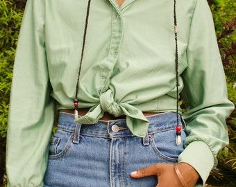 Vintage Jade Long Sleeve Button Up Shirt