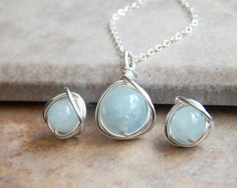 Aquamarine Necklace Earring Set, Gift For Mom Jewellery Set, Aquamarine Jewellery Set, Bridesmaids Set, Birthday Gift, Mother's Gift