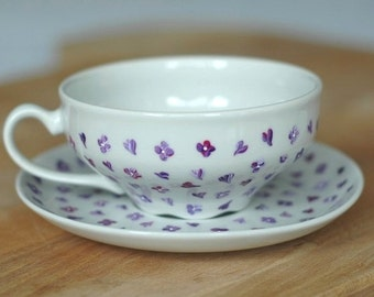 Hand-painted tea cup with lilac blossoms