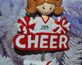 Personalized Red & White Cheerleader Christmas Ornament
