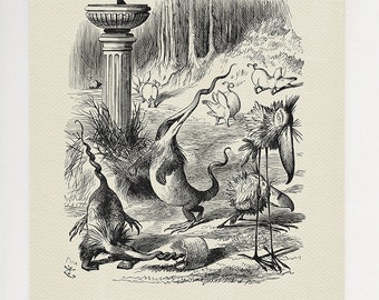 Twas brillig and the slithy toves - classic style poster print copy of book  illustration - Through the Looking-Glass - Alice in Wonderland